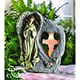 Garden Angel Solar Statue Religious Sculptures Outdoor Concrete Ornament Resin Lawn Yard Patio Decorative Pathways