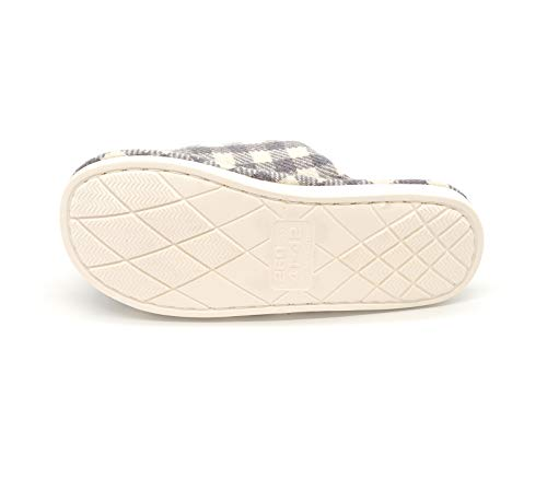 Slippers Ladies Grey Foam Memory Women's Grid Print Cotton Tuoup House Cwq6H1xS8