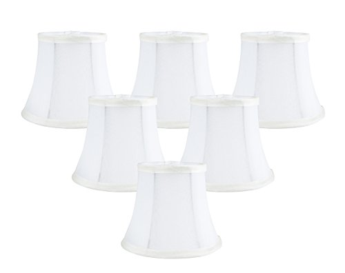 Silk Chandelier (Meriville Set of 6 Off White Faux Silk Clip On Chandelier Lamp Shades, 4-inch by 6-inch by 5-inch)