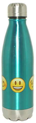 Silver One 17oz Stainless Steel Vacuum Insulated Travel Water Bottle | Leak-Proof Double Wall Portable Cola Shape Bottle | Twist Cap, Spill Proof & No Sweating | Keeps Drinks Hot & Cold | Emoji Bottle