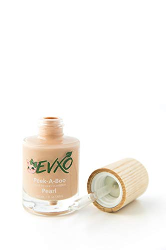 Best Organic Natural Liquid Mineral Foundation Makeup by EVXO - Vegan, Gluten-Free, Cruelty-Free, Silicon-Free (Pearl/Light with Cool undertones)