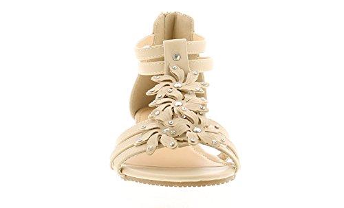 Platino Damen Römersandalen-Stil Sandale mit Offenem Zehenbereich Blume und Strass Trimmen Reißverschluss Befestigung zur Rückseite von Absatz für Einfache An/über Gepolstert Innensohle Low 3cm Dünn