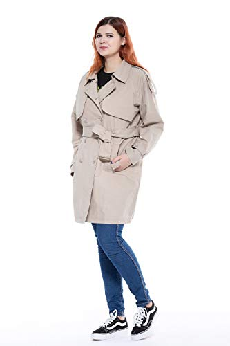 The Plus Project Womens Ladies Office Open Blend Spring Windbreaker Jacket Trench Coat Khaki Brown 2X-Large