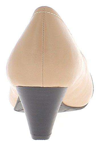 ChaussMoi Escarpins Femme Beiges Brillants Grande Taille à Talons DE 5,5cm