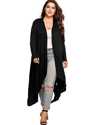 Kancystore Women Plus Size Drape Long Sleeve Cardigans Lightweight Open Front High Low Cardigan Sweaters