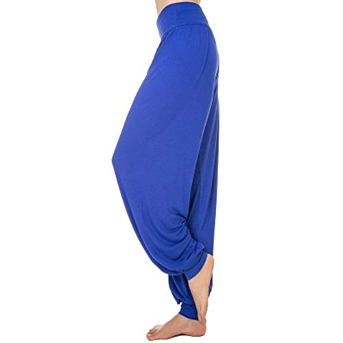 Pantaloni Estivi Lanterna Danza Tempo Colori Yoga Vita Eleganti Pluderhose Harem Accogliente Saphir Solidi Libero Donne Elastica Sciolto Classiche Donna Unique Di Fashion tdAnFwtq