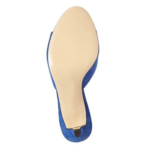 Fsj Comfort Donna Sandali Con Tacco Basso Sandali Spuntati In Pelle Scamosciata Slip On Dress Pompa Scarpe Taglia 4-15 Us Royal Blue-5 Cm