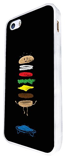 1288 - Cool Fun Trendy Cute Kawaii Burger Junk Food Take Away Trampoline Burger S Design iphone SE - 2016 Coque Fashion Trend Case Coque Protection Cover plastique et métal - Blanc