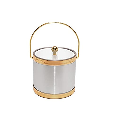 Mr. Ice Bucket Brushed Ice Bucket with Gold Bands, 3 quart, Silver