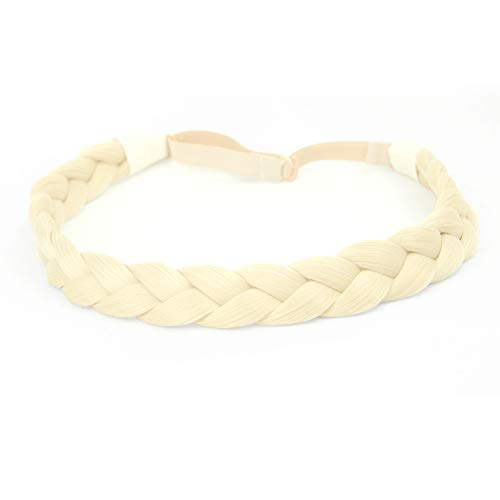 Braid Platinum - DIGUAN Synthetic Hair Braided Headband Classic Chunky Wide Plaited Braids Elastic Stretch Hairpiece Women Girl Beauty accessory, 55g aHairBeauty Platinum (#Light Blonde)
