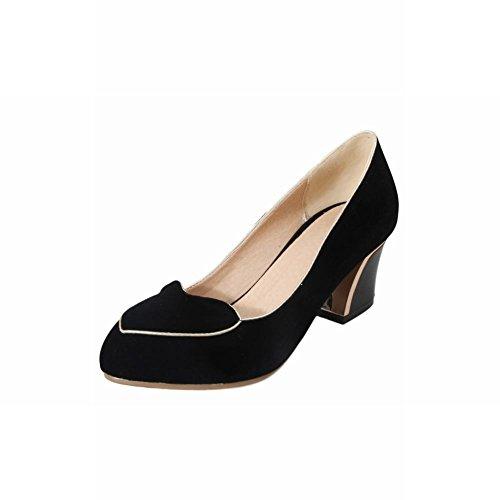 Charme Voet Mode Dames Dikke Hak Pumps Schoenen Zwart