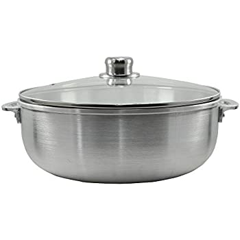 Traditional Columbian Cast Aluminum Caldero, Kitchen Sense Heavy Gauge Dutch Oven with Tempered Glass Lid Multi Cooker Silver Stock Pot with Riveted Handles for Cooking by American Dream (13.0 Quarts)