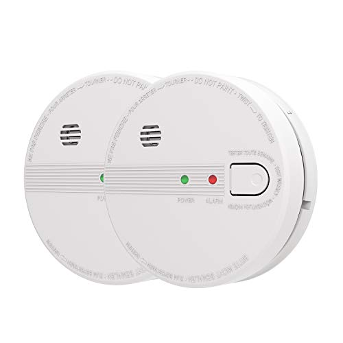 AIKO GS518 Smoke and Fire Alarm, Hardwired, Interconnect Photoelectric Sensor Smoke Alarm with Battery Backup and Smart Hush, Ul Listed, White (Pack of 2)