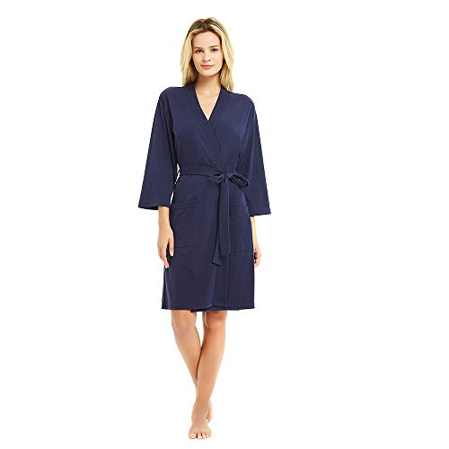 U2SKIIN Kimono Bathrobe for Women with 3/4 Sleeves, Lightweight Cotton Short Robe Ladies Longewear for SPA Bathing Wedding ... Navy