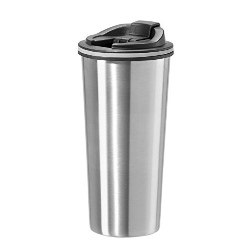 (Oggi 8063.0 Double Wall Stainless Steel Travel Mug with Stainless Steel Liner and Flip Open Top, 0.5 L/16 oz, Stainless )