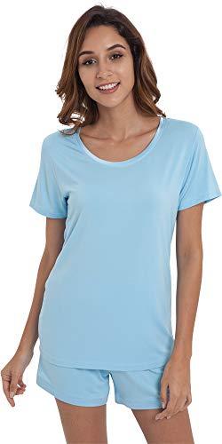 NEIWAI Women's Pajamas Set Cozy Bamboo Short Sleeve Sleepwear Pj Set S-4X Pale Blue S