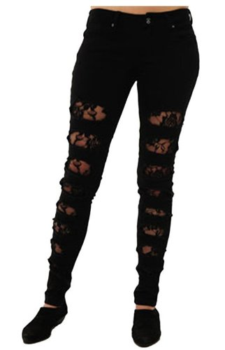Criminal Damage - Vaqueros unisex Rose Lace Black