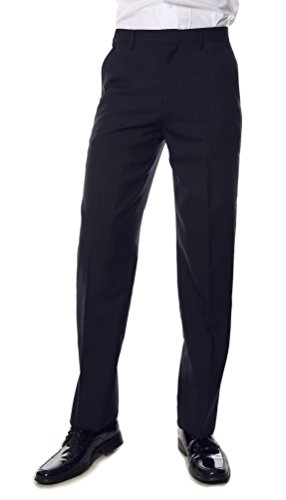 46 Hallmark Mens Navy Pin Reg Fit Dress Pants (Pant Wool Pinstripe Suit)