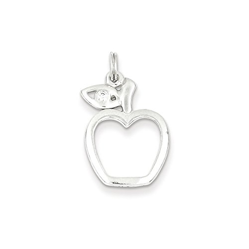 Mireval Sterling Silver CZ Apple Charm (approximately 25 x 16 mm)
