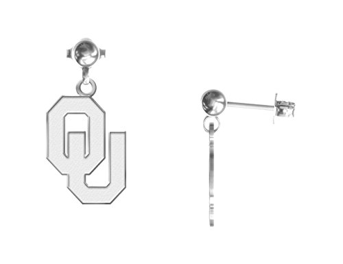 Oklahoma Sooners Ball Drop Stud Earring - Small - See Image on Model for Size Reference (Sooners Sterling Ring Oklahoma Silver)