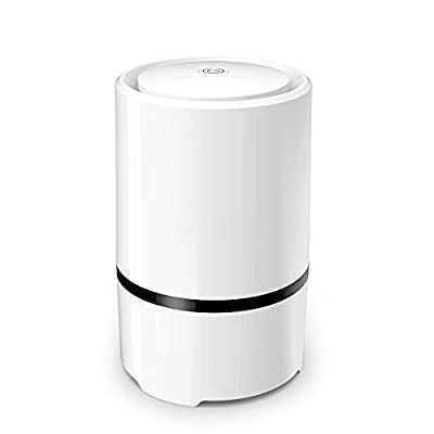 WSTA Desktop Air Purifier,Air Ionizer,Portable Air Purifier,True HEPA Air Cleaner Remove Cigarette Smoke,Dust,Pollen,Bad Odors with 5V USB Cable and 110V AC Adaptor (White)