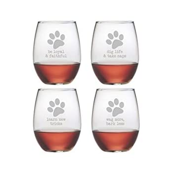 Ideal Amazon.com | Dog Wisdom 21-ounce Stemless Wine Glasses (Set of 4  SC57