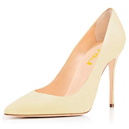 FSJ Women Sexy Suede Pointed Toe Pumps 12 cm High Heels Stilettos Prom Shoes Size 9.5 Light Yellow