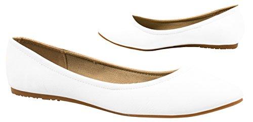 Elara Damen Ballerinas | Bequeme Lederoptik Flats | Freizeitschuhe | chunkyrayan Weiss Malaga