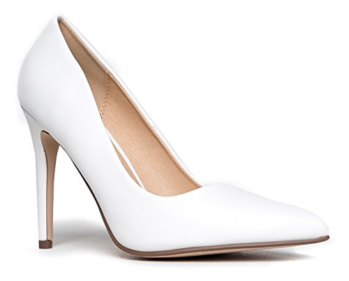 Pointed Kiera J Closed Pu Pumps White Work Adams Heel On Classic Jing Slip High Toe Pumps F1R5YqwxR