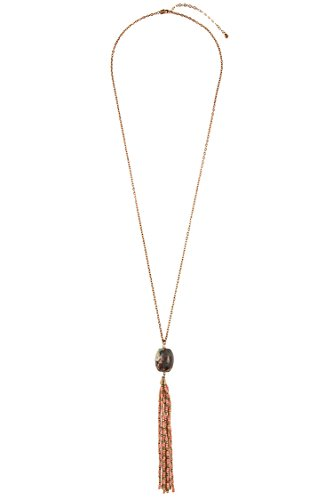 GlitZ Finery Natural Stone Pendant Beaded Tassel Necklace (Turquoise)