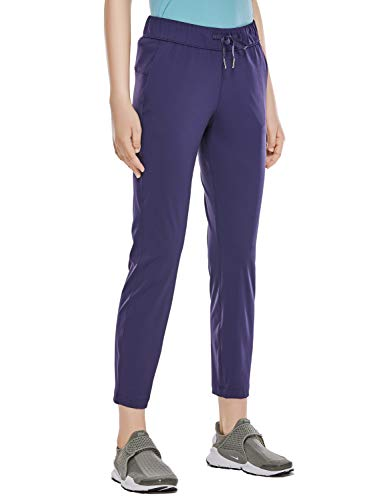 CRZ YOGA Womens Stretch Lounge Work Ankle Pants Drawstring 7/8 Track Pants with Pockets-28 inches Navy M(8/10)