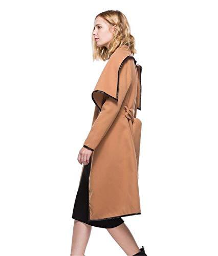 printemps vêtements long couleur classique d'extérieur manches marron de simple des manteau Manteaux glamour ceinture trench pure occasionnel inclus veste automne femmes TBW5AOXnqw