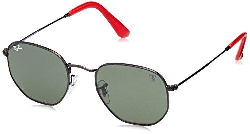 (Ray-Ban RB3548NM Scuderia Ferrari Collection Square Sunglasses, Black/Green, 51 mm)