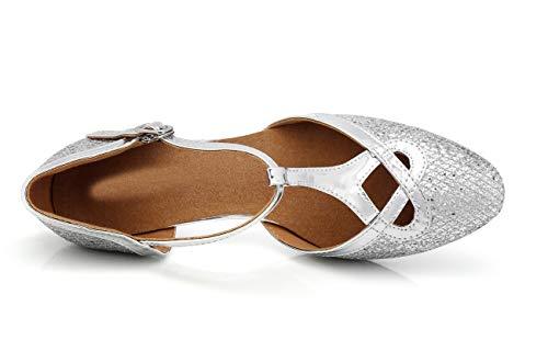 Silver Heel Minitoouk De Salon l341 5 5cm Femme Danse Minitoo Argenté 36 C0wfqSwc