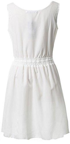 Blanco Mangas Mujeres Sin Partido Eventos Cintura Playa Negocios de Club Vestido Dress y de Casual Verano Ceremonia Gasa Vestidos Colores Cóctel Mini Elàstico Lisos gtdwxnqOv