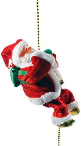 Electric Christmas Santa Claus Climbing Ladder with Music Plush Doll for Hanging Ornament Tree Indoor Outdoor Decoration JIMACRO Santa Climbing Rope Ladder Double ladder