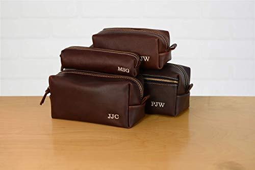 Leather Monogram (Personalized Leather Dopp Kit Groomsmen Gift | Monogram Leather Mens Toiletry Bag Wash Bag Travel Case | Arizona Leather Gift for Husband Dad Grad Boyfriend Weekend Bag Gym Bag Overnight Bag)