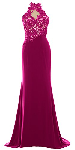Fuchsia Halter Gown Dress Evening Wedding Party Long Formal MACloth Women Lace Mermaid 0vxwvE4P