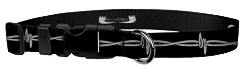 Moose Pet Wear Dog Collar - Patterned Adjustable Pet Collars, Made in the USA - 1 Inch Wide, Medium, Barbed Wire