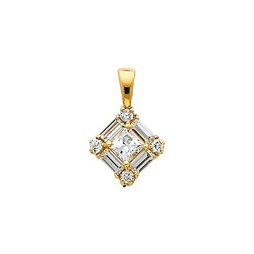 Designer Square Charms (Wellingsale 14K Yellow Gold Polished Cluster Square Charm Pendant with CZ Accent)