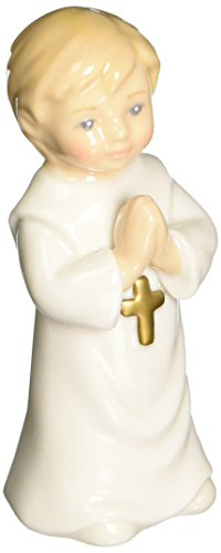 Cosmos 10109 Fine Porcelain Boy in White Robe with Cross Figurine, 4-Inch - Boy Angel Figurine