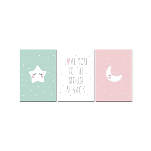 Carrie Cartoon Moon Star Canvas Art Posters Nursery Prints Painting Wall Picture Baby Room Decoration Love You The Moon and Back,A4 21x30cm Unframed,3 pcs Set