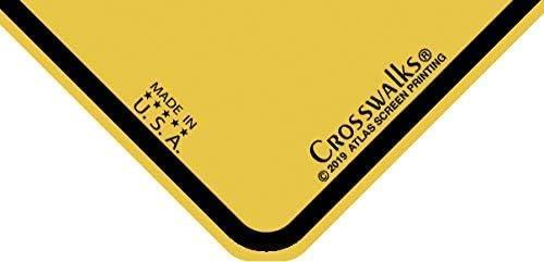 X104 30,5 x 30,5 cm Aluminium-Schild CROSSWALKS UFO Crossing Schild
