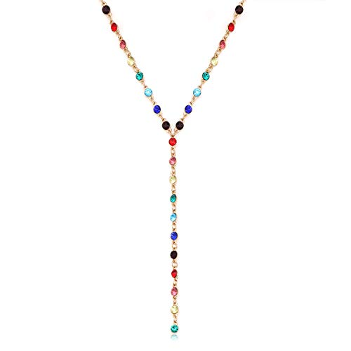 - Crystal Y Drop Choker Necklace CZ Station Lariat Rhinestone Tassel Pendant Necklace for Women Girls Prom Party Jewelry (Multicolor)