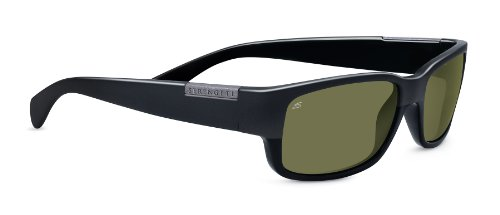 Serengeti Merano Sunglasses, Shiny/Matte Black Frame, Polarized 555nm Lens (Sunglasses Racewear)