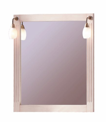 Alessandria Wall Framed Mirror 31-1/2-inch Wide with Light Fixture, Rectangular, Ivory Patina Solid Wood, Made in Spain (Eropean Brand) by Hispania bath