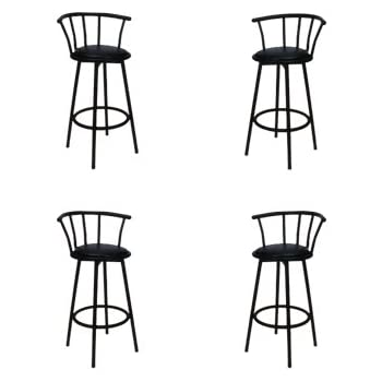 Amazon Com 4 29 Quot Black Bar Stools Swivel With Black