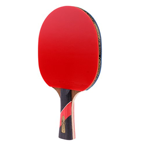 Baosity Durable 5 Layers Wood Long Handle/Shakehand Double Reverse Glue Table Tennis Racket Ping Pong Bat Paddle Beginners Training Exercise Equipment by Baosity