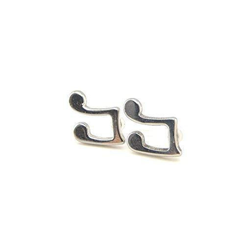 Music Note Invisible Clip On Stud Earrings, 10mm Silver-Tone