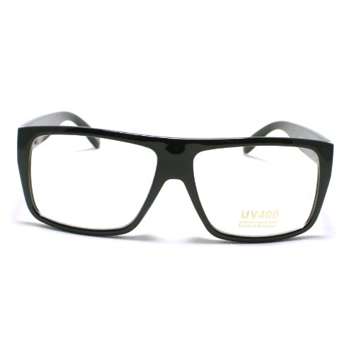Black Mob Style Flat Top Square Plastic Clear Len - Glasses Skrillex